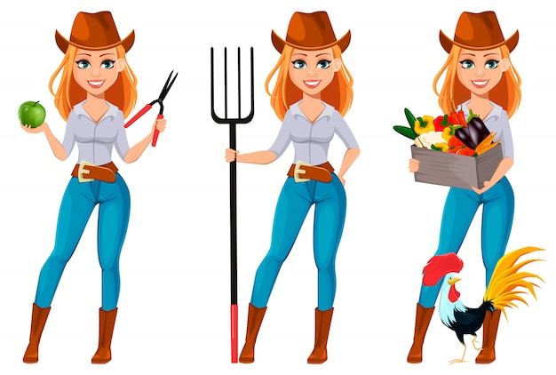 Jovem, bonito, agricultor, mulher, em, chapéu vaqueiro Vetor Premium