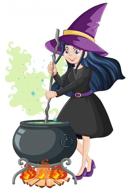 Jovem bruxa bonita com estilo de desenho animado pote de magia negra isolado no fundo branco Vetor grátis
