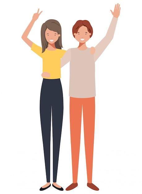 Jovem casal com as mãos para cima personagem de avatar Vetor Premium