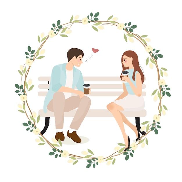 Jovem casal confissão enquanto tomando café ilustração Vetor Premium