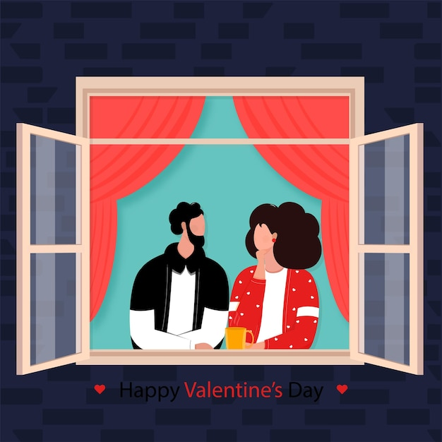 Jovem casal de desenho animado olhando um para o outro na janela para o conceito de feliz dia dos namorados Vetor Premium