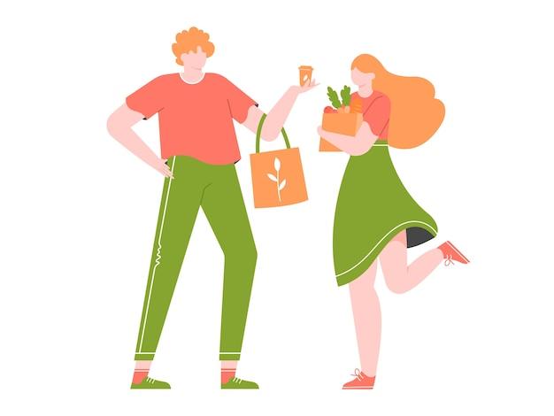 Jovem casal está comprando em uma loja sem plástico. Vetor Premium