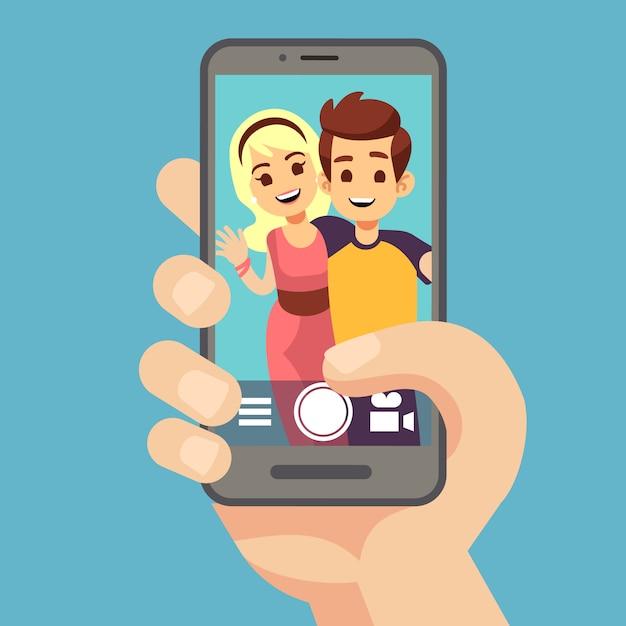 Jovem casal mulher, homem tirando foto de selfie em smartphone. bonito retrato dos melhores amigos na tela do telefone. ilustração em vetor dos desenhos animados Vetor Premium
