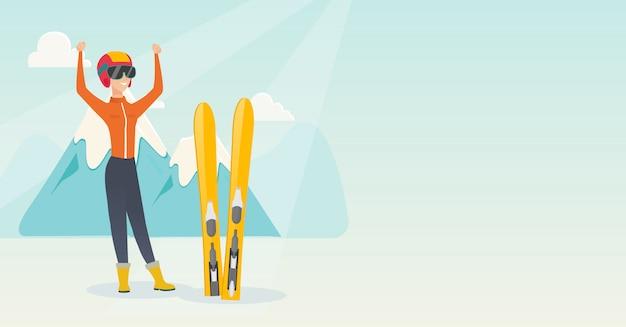 Jovem, caucasiano, esquiador, ficar, com, levantado, mãos Vetor Premium