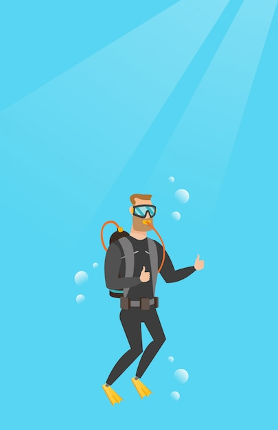 Jovem, caucasiano, mergulhador, dar, polegar cima Vetor Premium