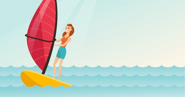 Jovem, caucasiano, mulher, windsurfing, mar Vetor Premium