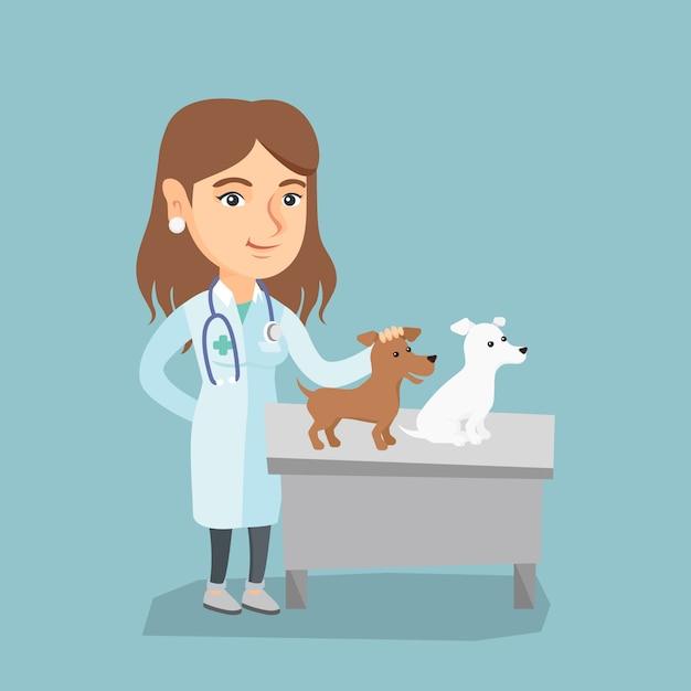 Jovem caucasiano veterinário examinando cães. Vetor Premium