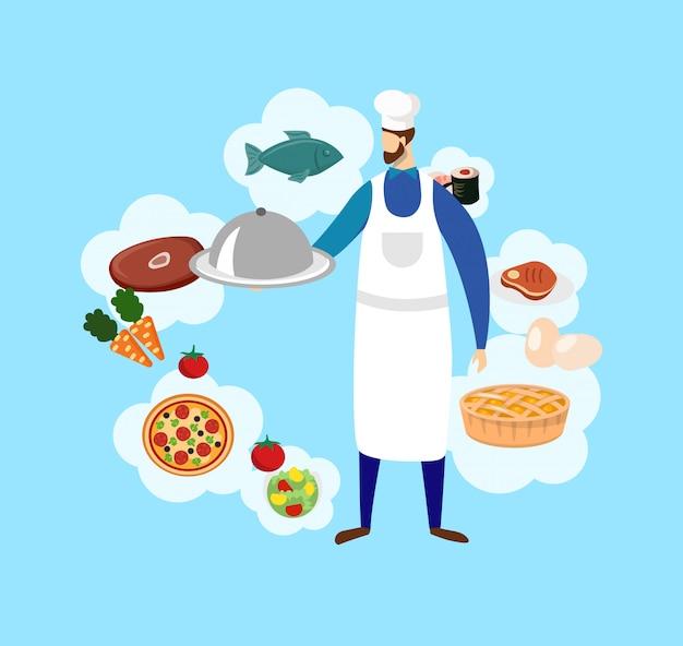 Jovem chef masculino barbudo em ícones de toque e comida. Vetor Premium