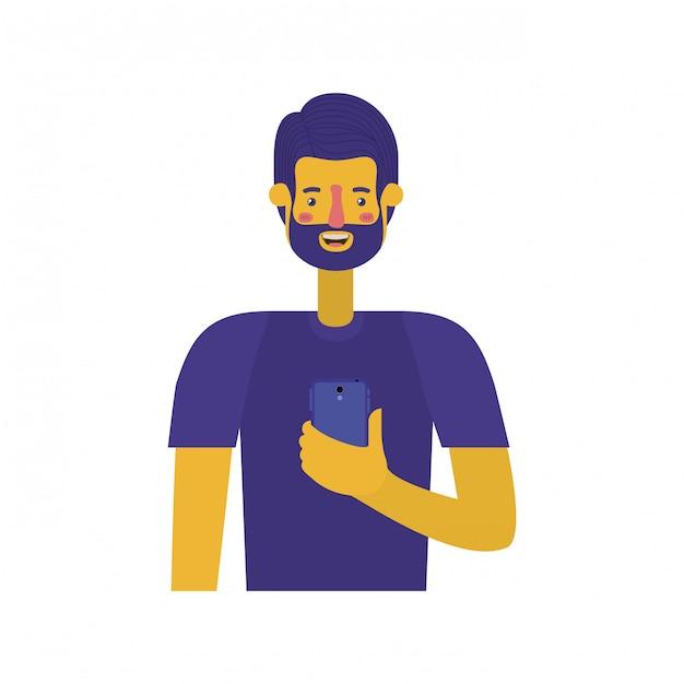 Jovem com barba e smartphone Vetor Premium
