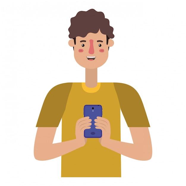 Jovem com smartphone Vetor Premium