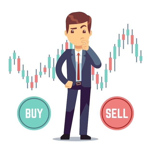 Jovem comerciante e negócio castiçal gráfico com botões de compra e venda. Vetor Premium