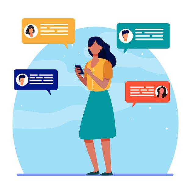 Jovem conversando com amigos via smartphone Vetor grátis