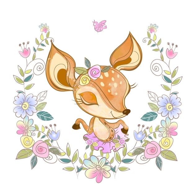 Jovem corça bonita em uma coroa de flores. Vetor Premium