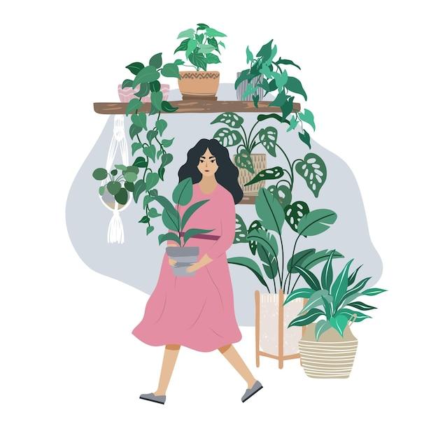 Jovem de vestido rosa cuida de plantas caseiras, interior moderno de quarto de selva urbana, ilustração plana desenhada à mão. Vetor Premium
