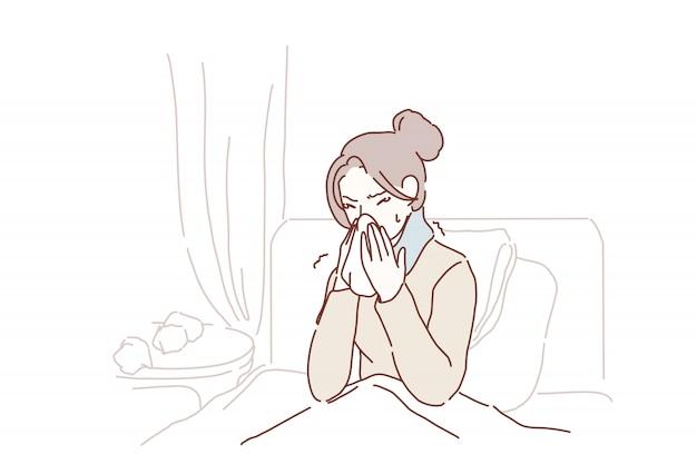 Jovem doente pegou frio espirros em tecido em casa. Vetor Premium