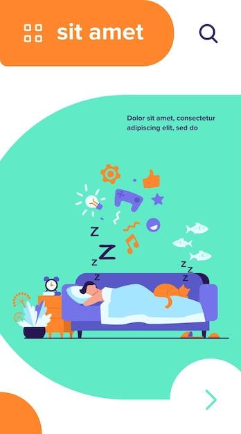 Jovem dormindo no sofá com ilustração vetorial plana de gato isolado. personagem de desenho animado sonhando sob o edredom à noite Vetor grátis