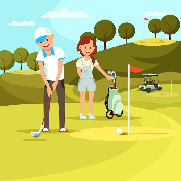 Jovem e mulher jogando golfe no campo Vetor Premium