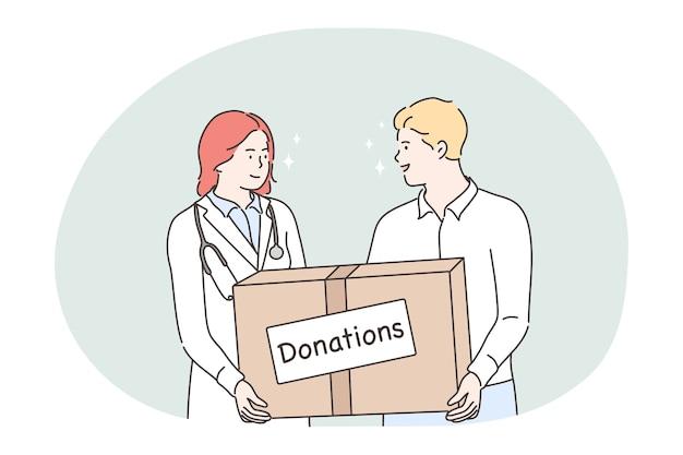 Jovem e mulher médico voluntários segurando uma caixa com tratamento de doações. Vetor Premium