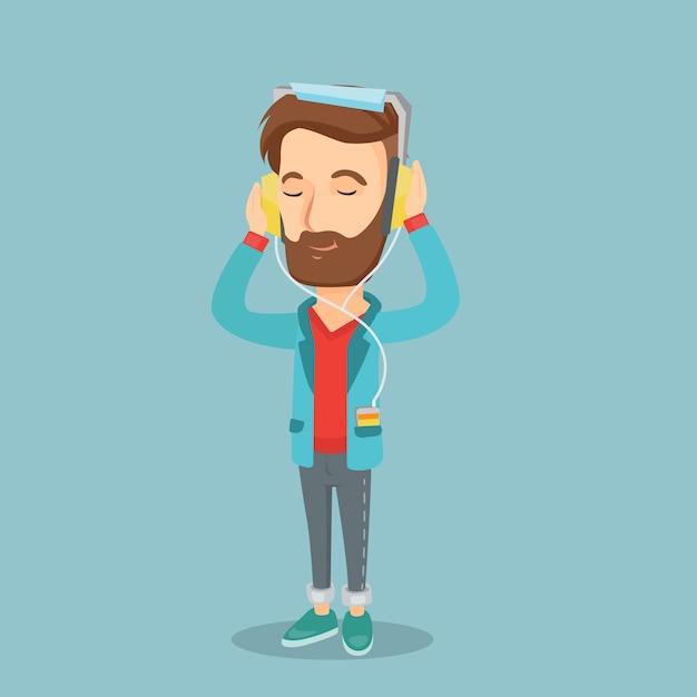 Jovem em fones de ouvido, ouvindo música. Vetor Premium