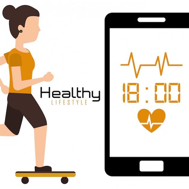 Jovem em skate móvel com estilo de vida saudável de ritmo cardíaco Vetor Premium