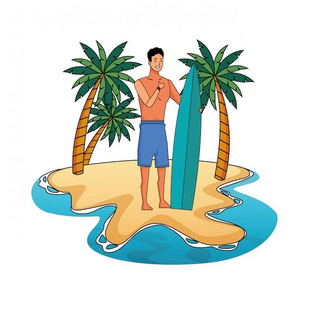 Jovem, em, tempo de verão, caricatura Vetor grátis