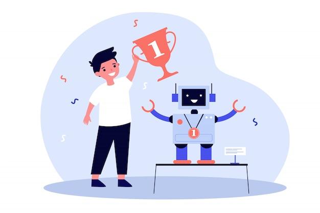 Jovem engenheiro fazendo robô e ganhar prêmio Vetor Premium