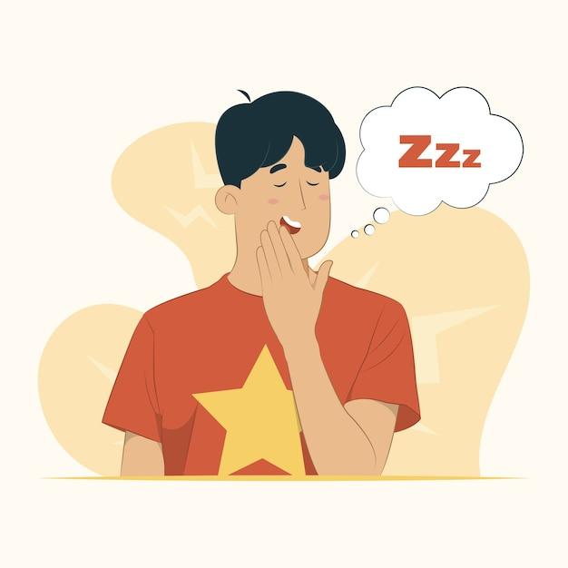 Jovem entediado bocejando cansado cobrindo a boca com a mão inquieta e conceito de sonolência Vetor Premium
