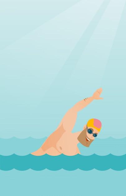 Jovem esportista caucasiano nadando. Vetor Premium