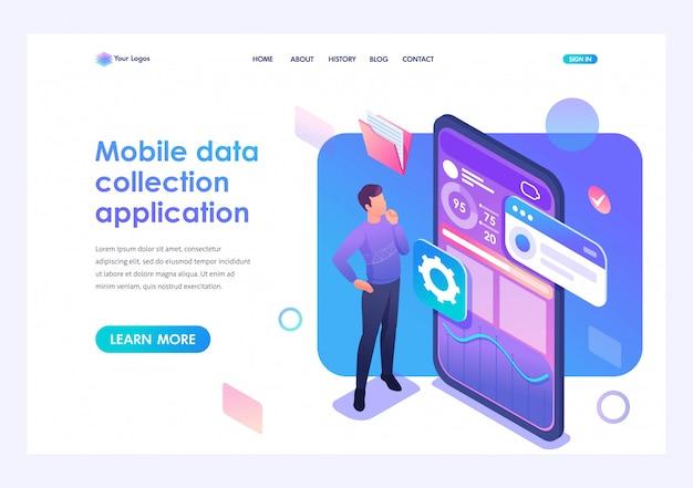 Jovem está desenvolvendo um aplicativo móvel para coleta de dados. conceito de tecnologias modernas. 3d isométrico. conceitos da página de destino e web design Vetor Premium
