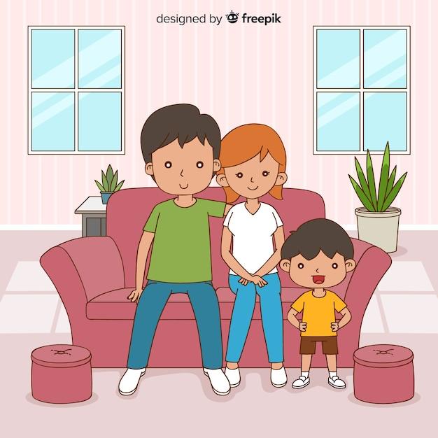 Jovem, família, casa, conceito Vetor grátis