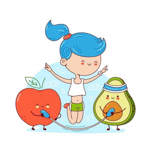 Jovem feliz bonito pular corda com abacate e maçã. ilustração de etiqueta de personagem de desenho animado. isolado no fundo branco conceito de dieta ceto Vetor Premium
