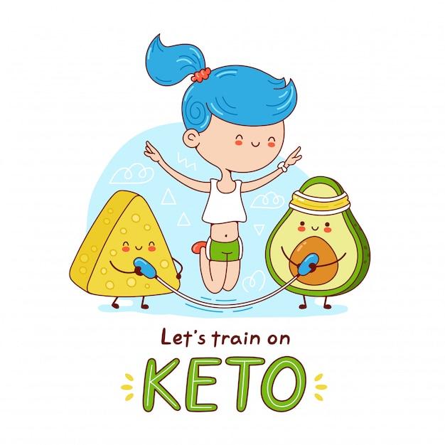 Jovem feliz bonito pular corda com abacate e queijo. ilustração de etiqueta de personagem de desenho animado. isolado no fundo branco conceito de dieta ceto Vetor Premium