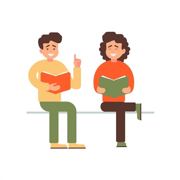 Jovem feliz e mulher lendo um livro Vetor Premium