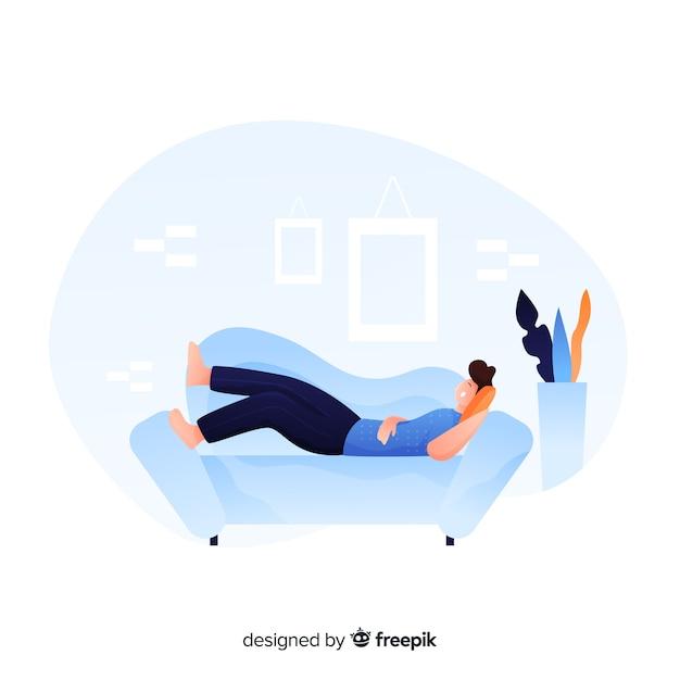Jovem feliz relaxando em casa landing page Vetor grátis