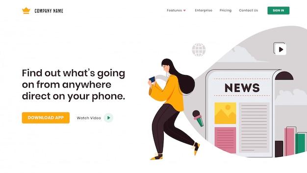 Jovem garota usando smartphone para aplicativo social como como infográficos jornal e web design da página de destino. Vetor Premium