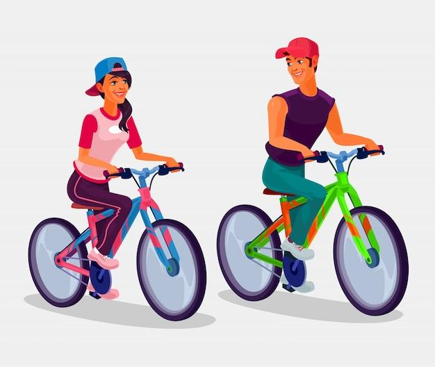 jovem garoto e menina andando de bicicleta baixar vetores grátis