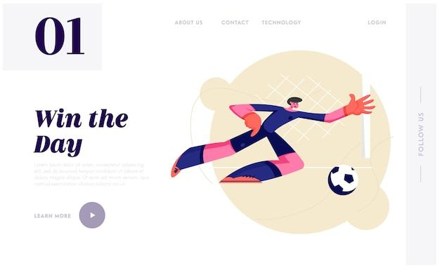 Jovem goleiro de futebol em movimento de salto lateral, tentando pegar a bola. Vetor Premium