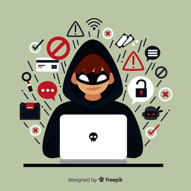 Jovem hacker anônimo com design plano Vetor grátis