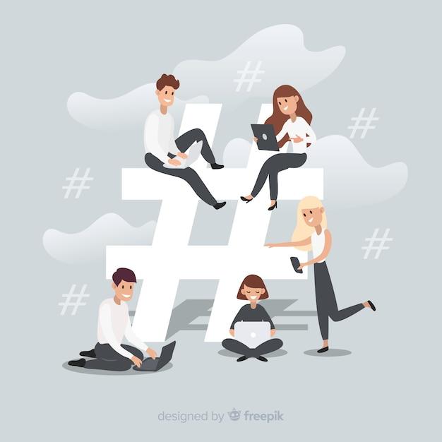 Jovem, hashtag, símbolo, fundo Vetor grátis