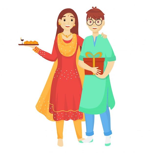 Jovem irmão e irmã comemorando por ocasião de raksha bandhan. Vetor Premium