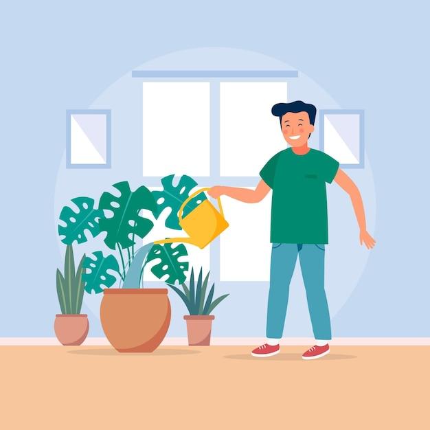 Jovem, jardinagem em casa Vetor grátis