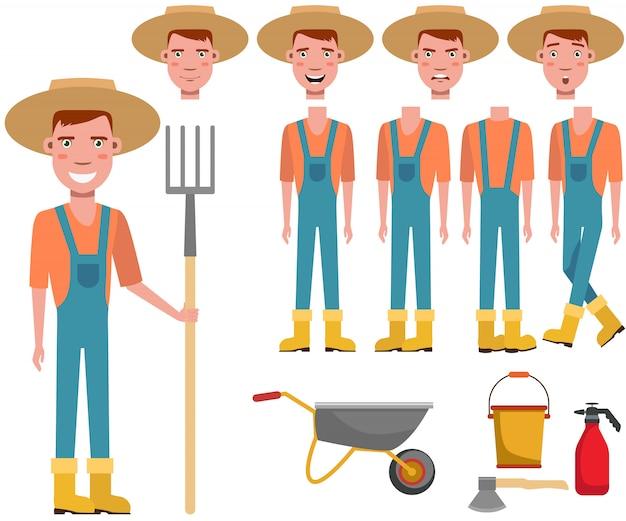 Jovem jardineiro no chapéu de palha segurando o conjunto de caracteres ancinho Vetor grátis