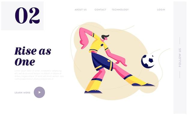 Jovem jogador de futebol de futebol em uniforme de equipe em movimento chute a bola. Vetor Premium