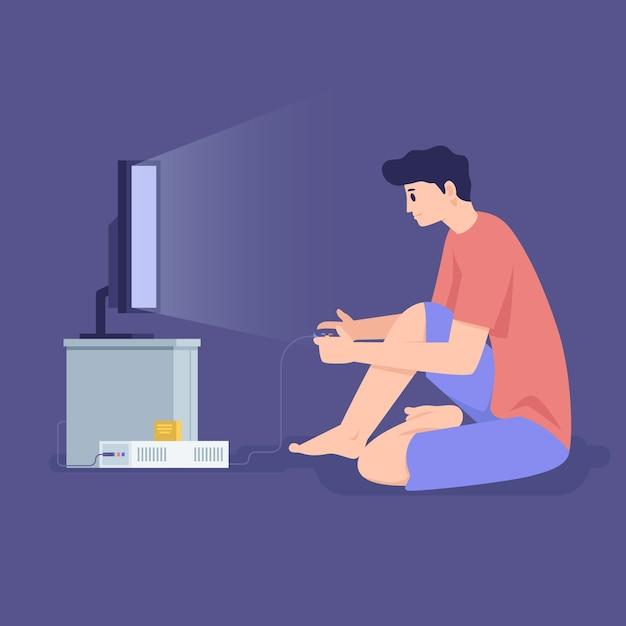 Jovem jogando videogame on-line no meio da noite Vetor grátis