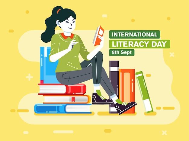 Jovem lendo um livro na pilha de livros, pôster de ilustração para ilustração do dia internacional da alfabetização. usado para pôster, banner e outros Vetor Premium