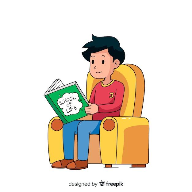 Jovem lendo um livro Vetor grátis