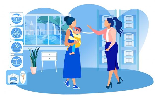 Jovem mãe com bebê sling escolhendo colchão Vetor Premium