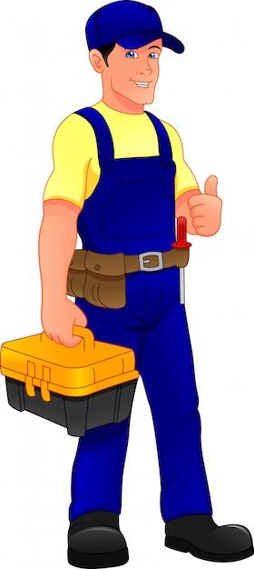 Jovem mecânico segurando ferramentas caixa e polegar Vetor Premium