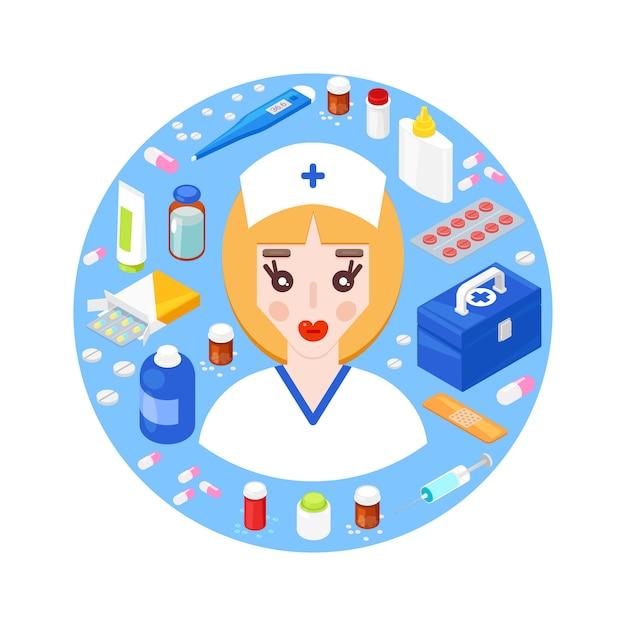 Jovem médico com diferentes equipamentos médicos. conceito de cuidados de saúde Vetor Premium