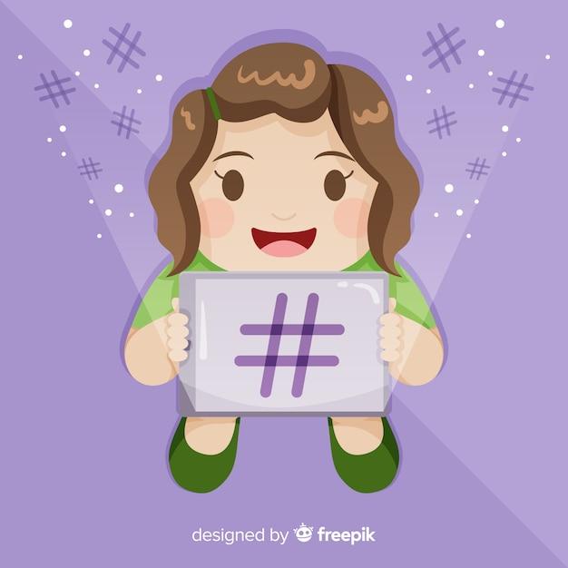Jovem, menina, hashtag, conceito, fundo Vetor grátis